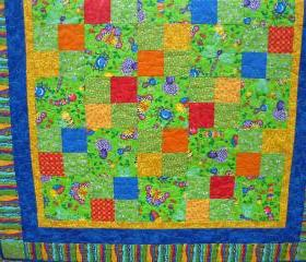 Pieced Quilt Bugs Bright