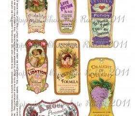Valentine Love Potion Labels Tags Digital Download Vintage Style High Resolution 300 dpi