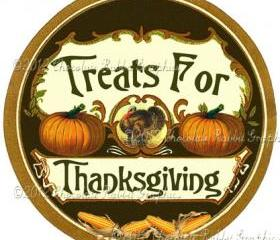 Vintage Thanksgiving Candy Label 2 Inch Circle Tag Digital Download Collage Sheet Printable Scrapbook Sticker Label