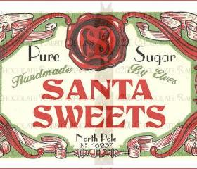 Vintage Christmas Candy Label Digital Download Printable Image Santa Collage Scrapbook Sheet