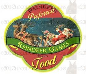Vintage Christmas Reindeer Food Label Digital Download Printable Label Tag Card Scrapbook Image