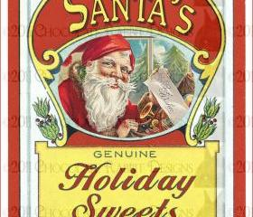 Christmas Candy Vintage Label - Digital Download 300 dpi High Resolution