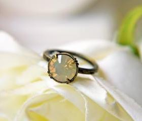 Swarovski Crystal Sand Opal Ring. Antique Brass Adjustable Ring. Romantic