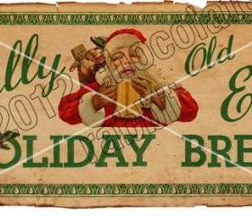 Vintage Christmas Tag Label Printable Holiday Brew Aged Digital Download Collage Sheet Graphics Homemade Cards Scrapbook