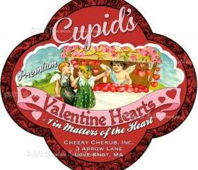 Valentine Candy Label Digital Download Printable Scrapbook Tag Cupid Collage Sheet