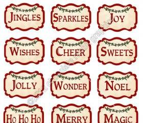 Vintage Christmas Ingredient Labels Digital Download Collage Sheet Printable Graphics for Tags and Cards
