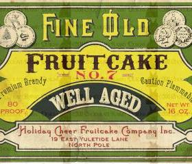 Vintage Fruitcake Christmas Label- Tag - Digital Download - Original Altered Art - High Resolution