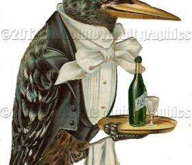 Victorian Altered Clip Art Crow Waiter Digital Download High Resolution Scrapbook Color Image