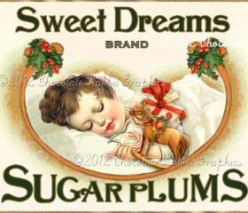 Vintage Tag Christmas Label Digital Download Collage Sheet Sugar Plums Graphics Scrapbook Image