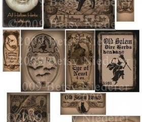 Vintage Halloween Witch Potion Bottle Labels Digital Download Collage Sheet Printable High Resolution300 dpi