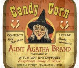 Vintage Halloween Witch Candy Label Digital Download Collage Sheet Printable High Resolution