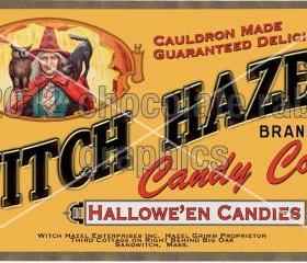 Vintage Halloween Witch Candy Label Digital Download Image Scrapbook Tag Card Candy Corn
