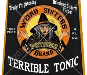Vintage Witch Halloween Label Potion Digital Download Image Collage Sheet Terrible Tonic