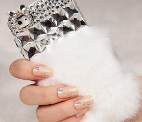 Beautiful White Diamond Fluffy Style Rabbit Fur Case for iphone 4 / 4s