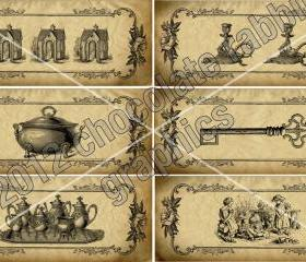 12 Victorian Vintage Collage Sheet Digital Aged Tags Jar Labels Scrapbook Images