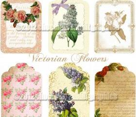 Vintage Victorian Collage Sheet Digital Flower Gift Tags for Scrapbooking Cards Crafts Beautiful Floral