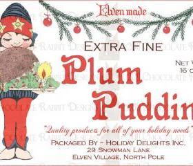Vintage Christmas Plum Pudding Label Digital Download Image Printable Sheet for Card Tag Scrapbook