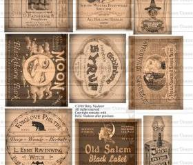 Vintage Halloween Witch Potion Bottle Labels Digital Download Collage Sheet Printable Tags Decorations