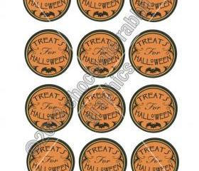 Vintage Halloween Party Candy Tags Stickers 2' Circle Digital Download Collage Sheet Image Download