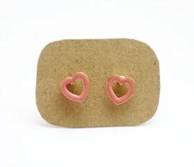 SALE Pink Hear Stud Earrings - Gift under 10