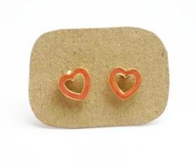 SALE - Salmon Orange Hear Stud Earrings - Gift under 10