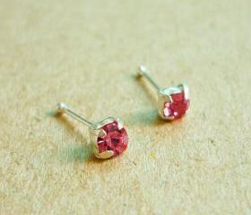 3 mm Small Pink CZ Nose Stud/Nose Earring - Nose Jewelry - Nose Piercing - 925 Sterling Silver Earrings - Gift under 10