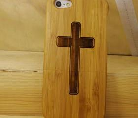 iPhone 5 case - wooden cases bamboo wood - Cross Design