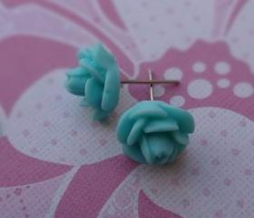 Aqua Flowers Post Earrings