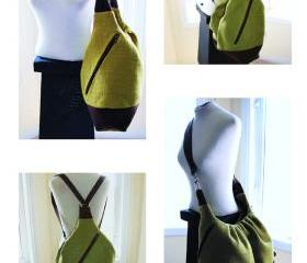 XL convertible crossbody messenger backpack in olive green canvas