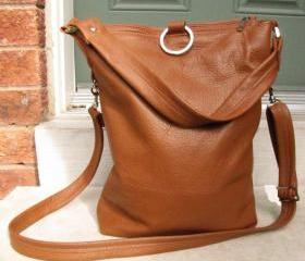 3 way leather tote bag in tan 