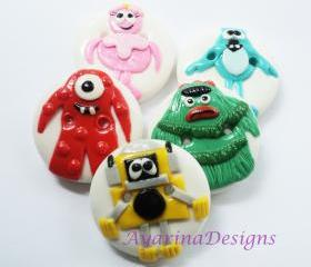 Gabba gabba - polymer clay appliques (can be made as buttons too)