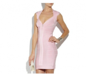 Sexy pink Bandage bodycon Dress Celeb boutique Evening Cocktail Party Dress