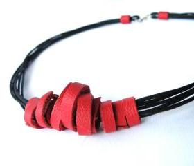 Multi Strand Necklace Tribal Leather Necklace. Recycled Leather. Red and Black Wearable Art Handmade by SteamyLab.