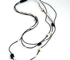 MultiStrand Boho Necklace Long necklace Cotton and Leather. Artistic Necklace Black and Cream Casual Necklace. Handmade by SteamyLab.