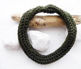 Crochet Scarf Necklace Moss green Merino Wool Fall Winter Women Fashion Accessories by SteamyLab.