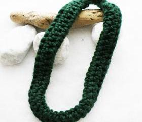 Dark Green Crochet Scarf Necklace Merino Wool Fall Winter Accessories Neckwarmer by SteamyLab