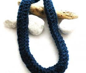 Deep Blue Crochet Neckwarmer Scarf Merino Wool Fall Winter Fashion Scarf Necklace SteamyLab.