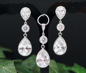 Wedding Bridal Jewelry Bridal Earrings Bridal Earrings Cubic zirconia earrings with clear white cubic zirconia Crystal Tear drops