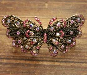 Pink Rhinestone Butterfly Barrettes Hair Clips