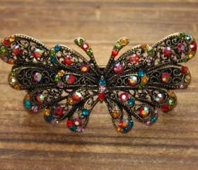 Colorful Rhinestone Butterfly Barrettes Hair Clips