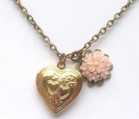 Antiqued Brass Flower Heart Locket Necklace