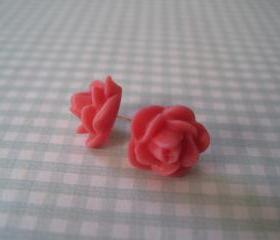Coral Flower Post Earrings