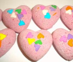 Bath Bombs - Hearts - Pink Hearts - Polynesian Red Scented - Bath Fizzies - Valentine's Day - Party Favors - Bridal Showers
