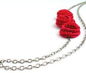 Crochet Rose Necklace Red Roses French Cotton Long Necklace Fall Winter Fashion Romantic Necklace by SteamyLab