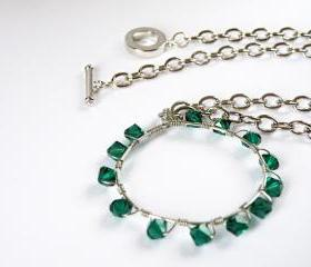 May Birthstone Emerald Green Swarovski Crystals Hoop Pendant Necklace Birthstone May Wire Wrapped Hoop by SteamyLab