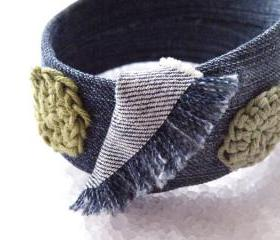 Hippie Denim Bangle Bracelet Recycled Plastic Jeans Bracelet Crochet jewelry French. Handmade.