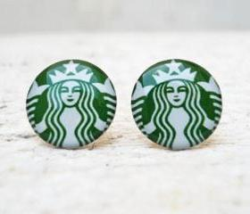 Starbucks Coffee Earrings in Green White, Ear Studs Posts, Upcycled Jewelry