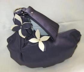 Purple Leather Wristlet with cream and purple flower applique