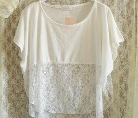 Loose White Shirt With Lace