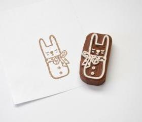 Hand Carved Rubber Stamp / Bunny